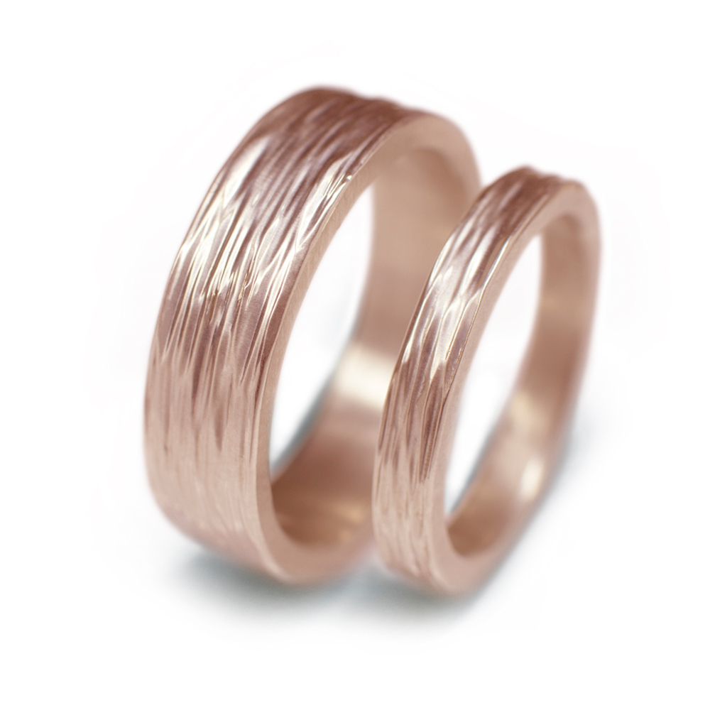 14k Rose Gold Wedding Ring Set With Tree Root Texture