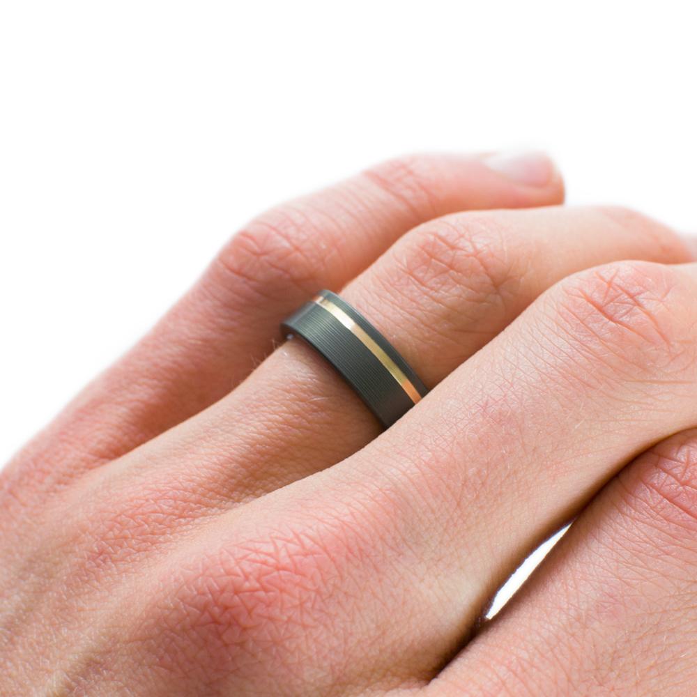 Black Ring In Zirconium With Offset 14k Yellow Gold Inlay - Casavir ...