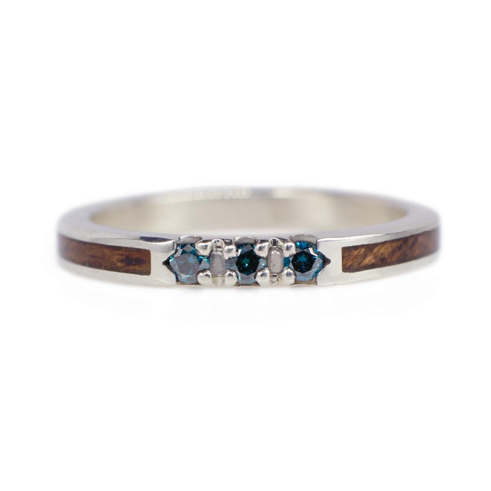 Blue Diamond Wedding Ring In White Gold Mahogany