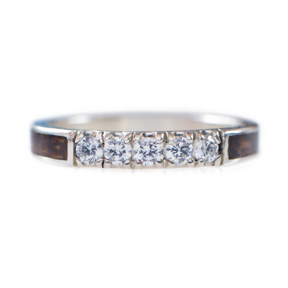 koa wood wedding ring in 14k white gold amp diamonds