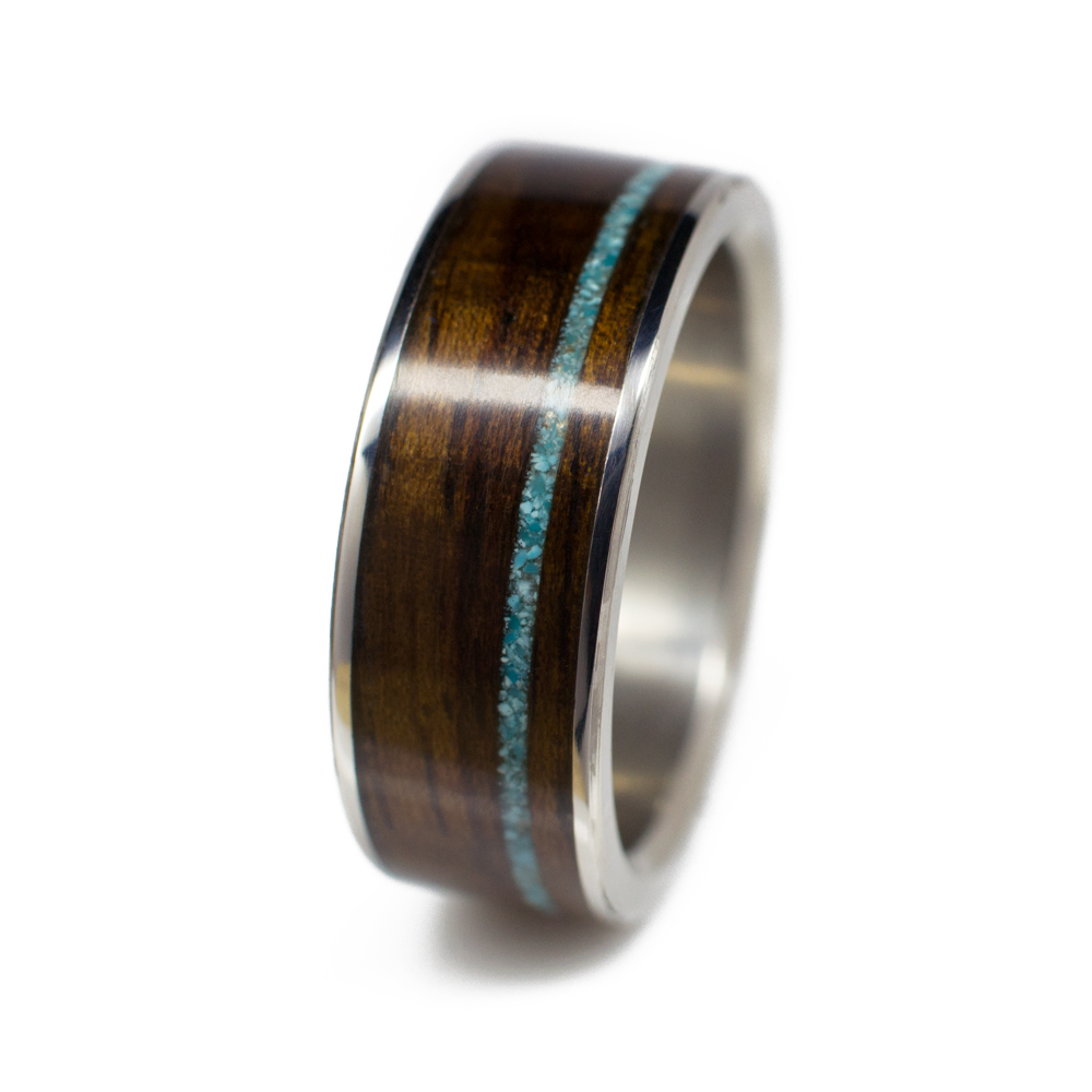 Wooden Turquoise Wedding Rings