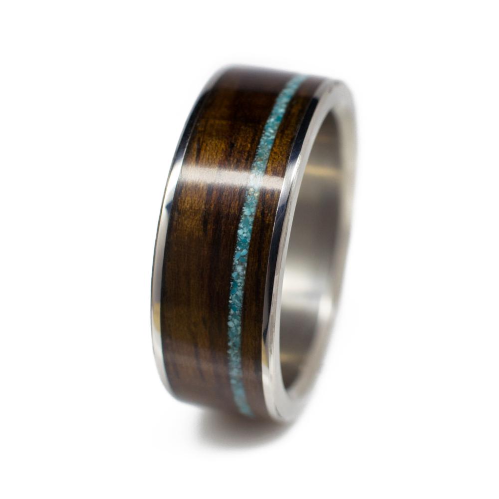 Wood Wedding Rings.Men S Wood Wedding Band In Titanium Ironwood Turquoise