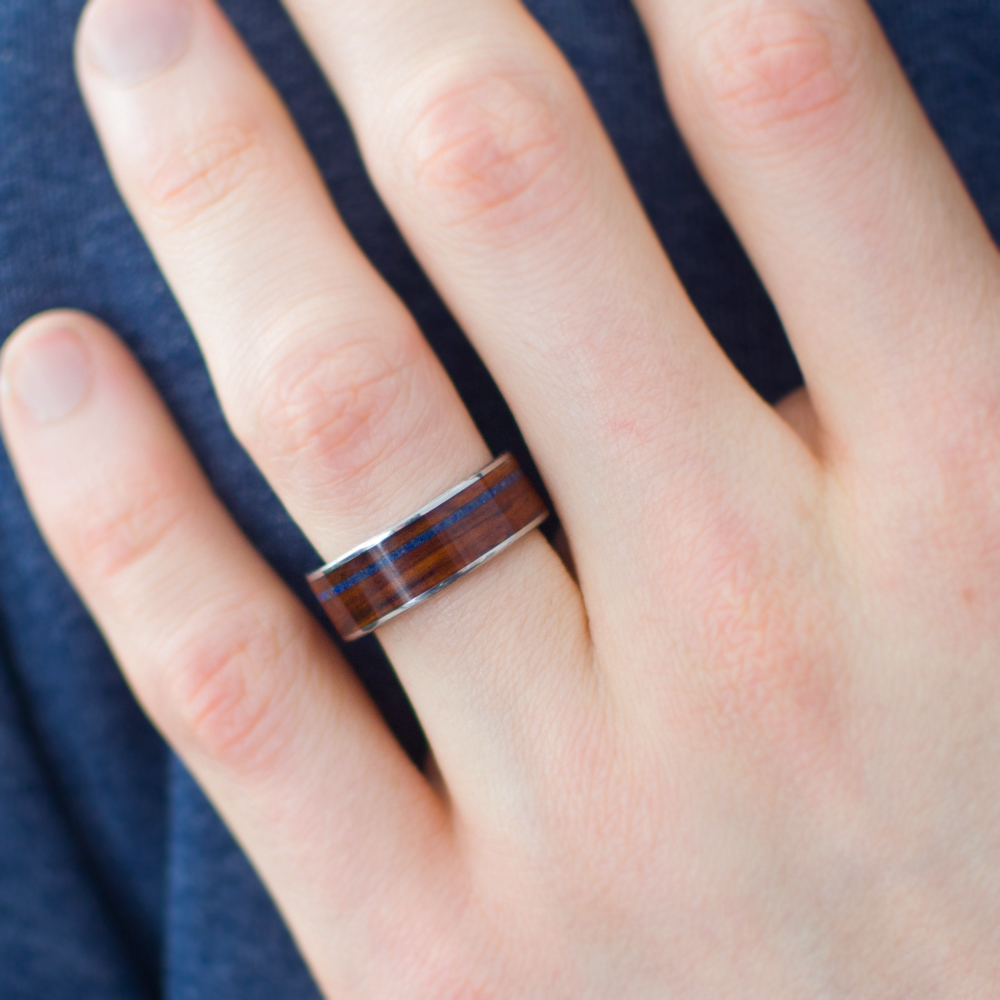 Men\'s Wooden Ring In Titanium, Cocobolo, And Lapis Lazuli