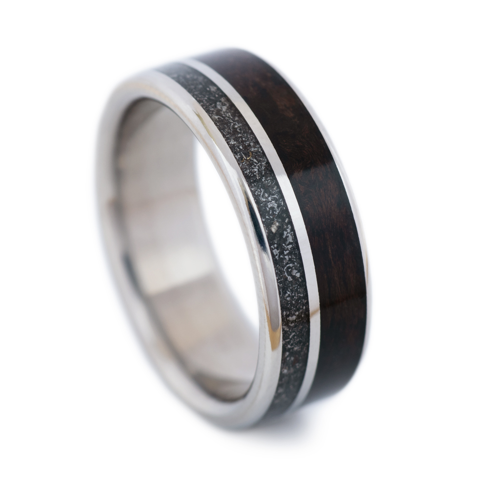 It is an image of Meteorite Wedding Band With Walnut
