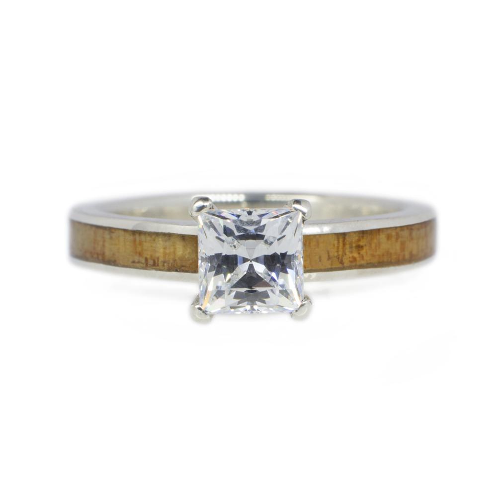 Koa Wood Engagement Ring In 14k White Gold Amp Princess Diamond