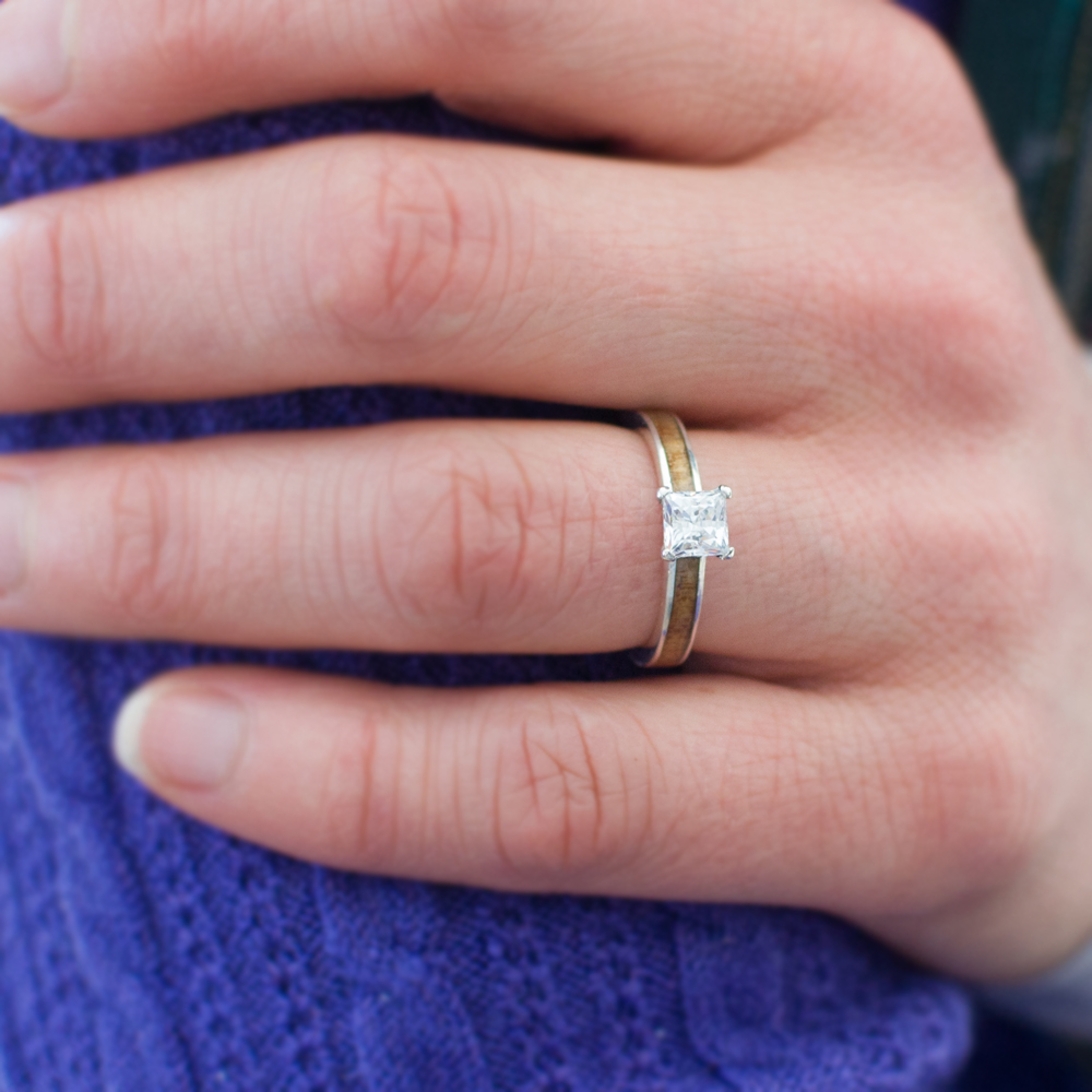 Koa Wood Engagement Ring In 14k White Gold & Princess Diamond