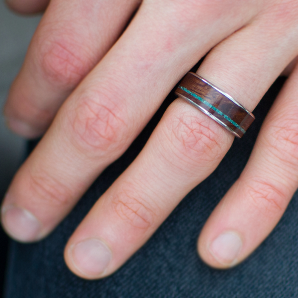 Wood Inlay Wedding Ring In Titanium, Bubinga, & Chrysocolla