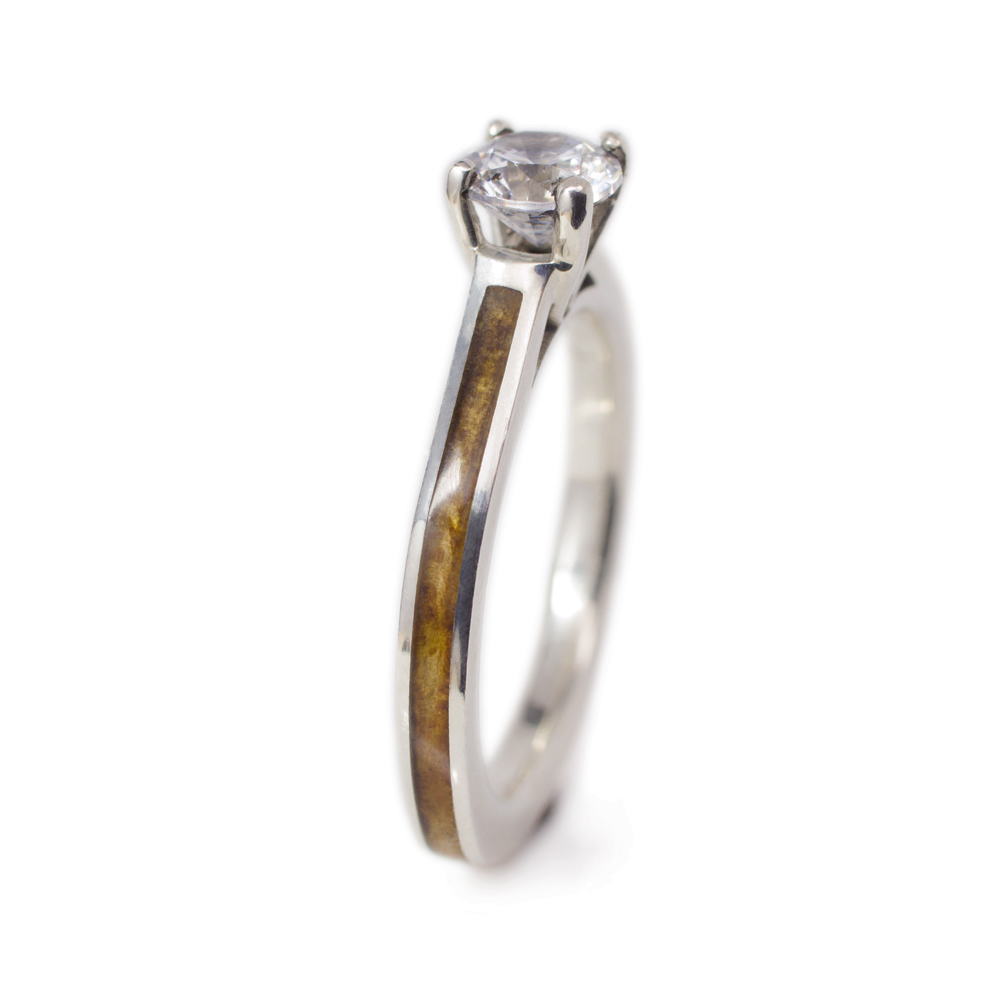 A Wood Engagement Ring With Diamond Pyinma Wood White Gold