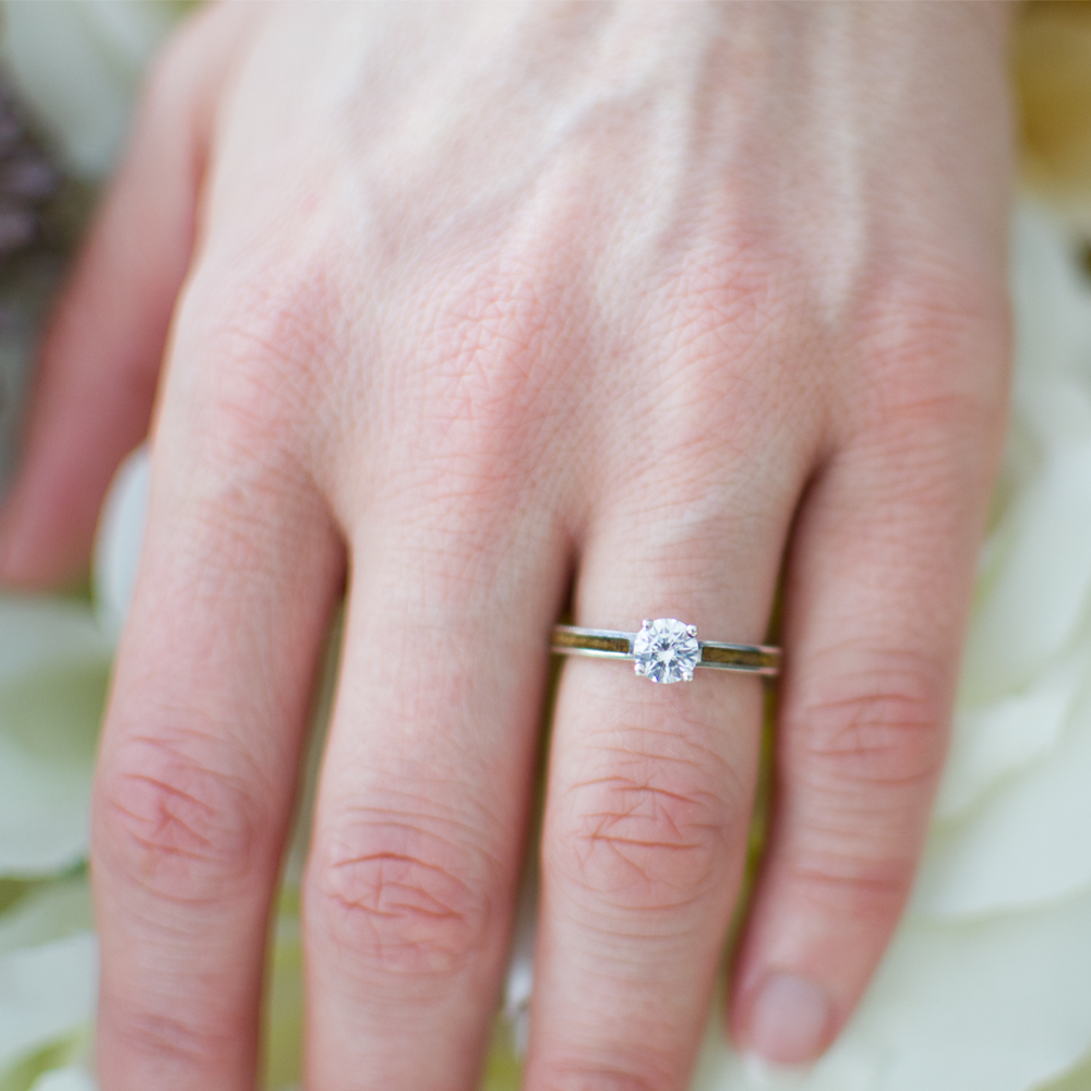 A Wood Engagement Ring With Diamond, Pyinma Wood, White Gold