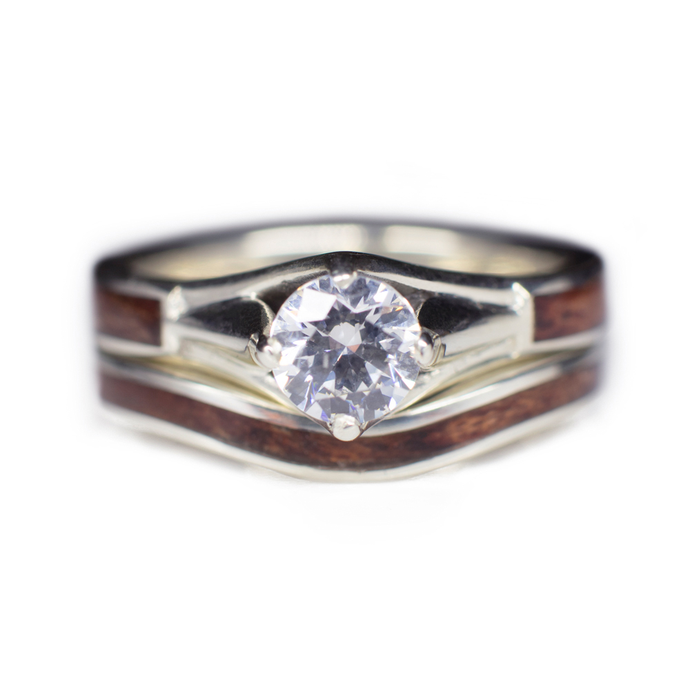 Wooden Wedding Ring Set In 14k White Gold And Diamond