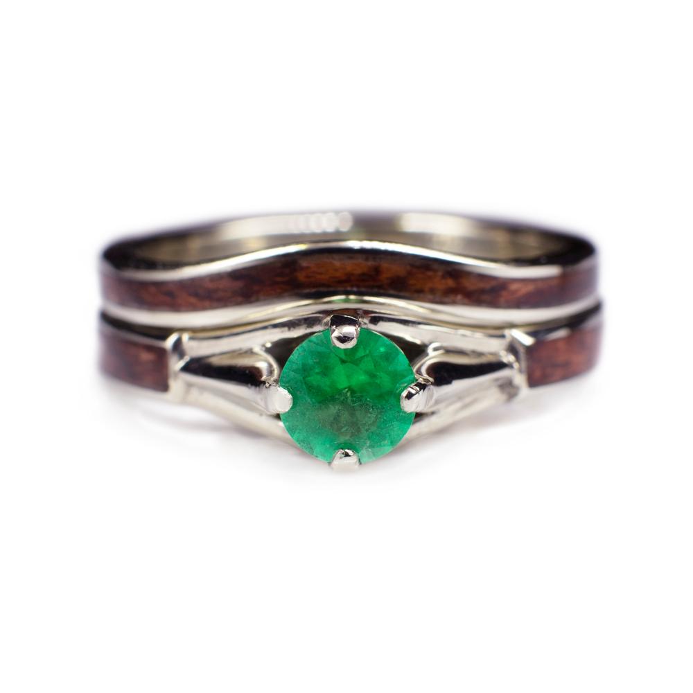 Wood Wedding Rings.Wooden Wedding Ring Set With Bubinga Wood Diamond